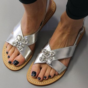 Silver Rhinestone Slingback Sandals Open Toe Flat Beach Sandals