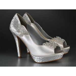 Women's Silver Satin Bridal Heels Peep Toe Rhinestone Platform Pencil Heel Pumps