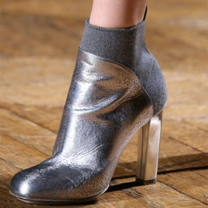 Silver Round Toe Chunky Heel Ankle Booties