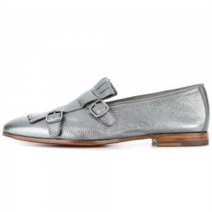 Silver Round Toe Fringe Buckles Loafers for Women