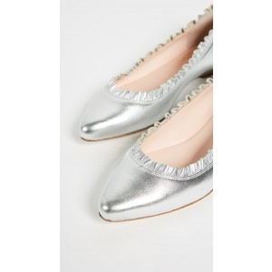 Silver Ruffle Pointy Toe Comfortable Flats Ballet Shoes