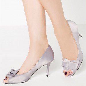 Silver Satin Bow Peep Toe Heels Stiletto Heel Pumps
