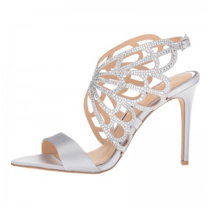 Silver Satin Hollow Out Rhinestone Heels Sandals