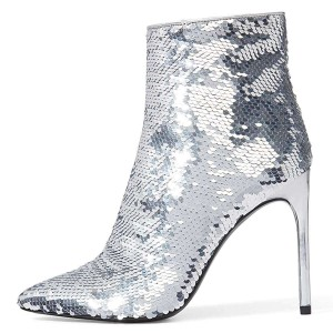 Silver Sequined Boots Stiletto Heel Ankle Boots