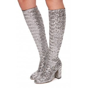 Silver Sequined Chunky Heel Boots Knee High Boots