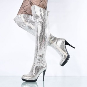 Silver Sequined Long Boots Stripper Shoes Platform Fashion Boots