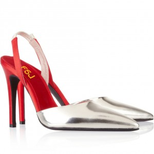 Silver and Red Slingback Pumps Pointy Toe Mirror Leather Stiletto Heels