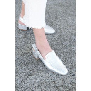 Silver Slingback Pumps Round Toe Block Heels Comfortable Shoes