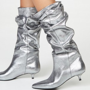 Silver Slouch Pointed Toe Kitten Heel Boots Mid-Calf Boots
