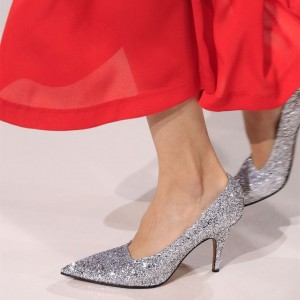 Silver Sparkly Heels Pointy Toe Stiletto Heels Glitter Shoes
