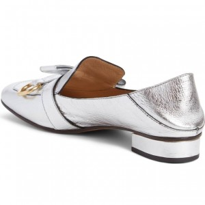 Silver Square Toe Loafers for Women Comfortable Flats with Bow