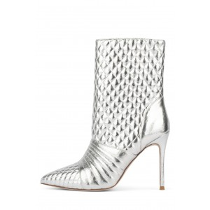 Silver Stiletto Boots Pointed Toe Ankle Boots