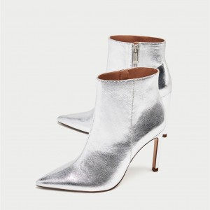 Silver Stiletto Boots Mirror Leather Pointy Toe Ankle Fashion Boots