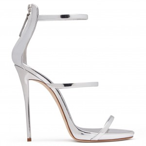 Women's Silver Sandals Heels Open Toe Stiletto Heels