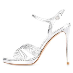 Silver Stiletto Heels Open Toe Slingback Sandals with Platform