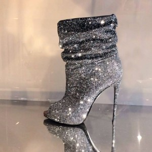 Silver Strass Hotfix Slouch Boots Peep Toe Fashion Stiletto Booties