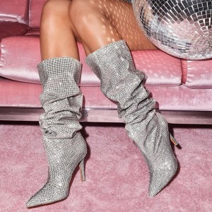 Silver Strass Hotfix Slouch Boots Rhinestone Pointy Toe Stiletto Boots