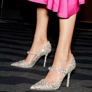Silver Suede Jeweled Mary Jane Pumps Stiletto Heel Pointed Toe Pumps