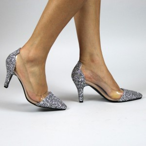 Silver Transparent Glitter Shoes Pointed Toe Pumps Stiletto Heels