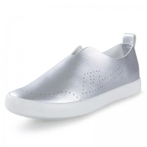Silver Vegan Leather Slip-on Hui Li Sneakers