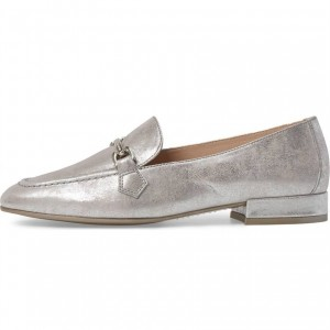 Silver Vintage Buckle Loafers for Women