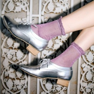 Silver Lace-up Women's Oxfords Almond Toe Oxfords Flats