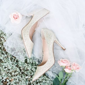 Silver Wedding Heels Glitter Shoes Low-Cut Upper Stiletto Heels
