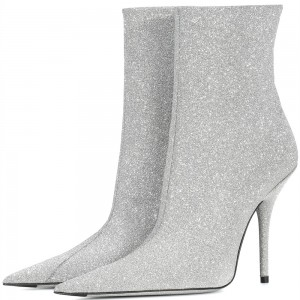 Silver Zipper Glitter Boots Pointy Toe Stiletto Heel Ankle Booties