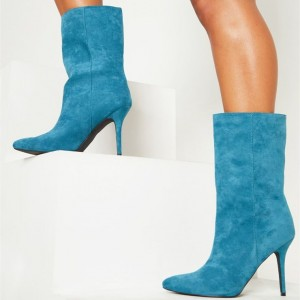 Sky Blue Pointy Toe Stiletto Heel Ankle Booties