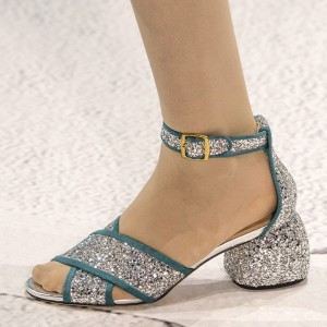 Sliver and Cyan Glitter Shoes Ankle Strap Block Heel Sandals