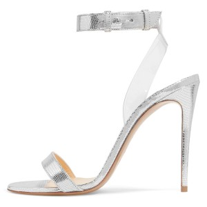 Silver Clear Stiletto Heel Ankle Strap Sandals