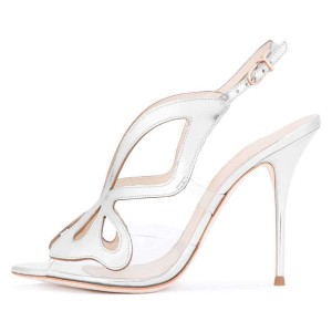 Silver Hollow Out Clear PVC Slingback Heels Sandals