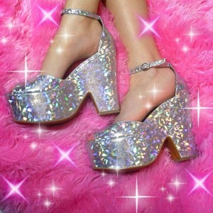 Sliver Block Heels Holographic Shoes Platform Ankle Strap Sandals