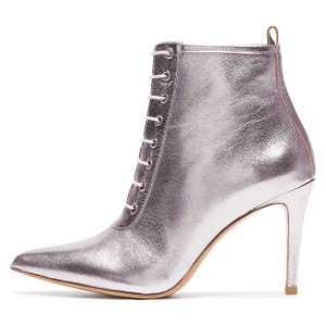Silver Metallic Lace Up Boots Stiletto Heel Ankle Boots