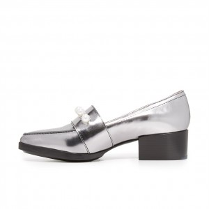 Silver Metallic Pearl Almond Toe Chunky Heel Loafers for Women