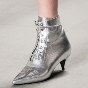 Silver Pointy Toe Lace up Boots Fashion Cone Heel Ankle Booties