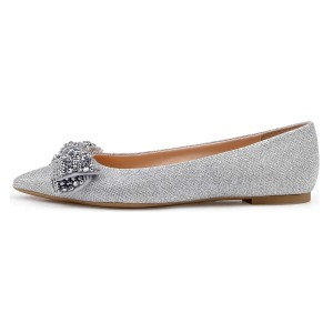 Silver Rhinestones Pointy Toe Comfortable Flats