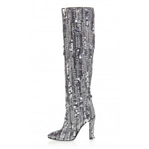 Sliver Sequined Chunky Heel Boots Over-the-knee Boots