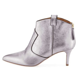 Silver Stiletto Boots Ankle Boots