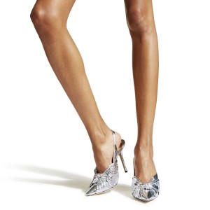 Silver Tie Stiletto Heel Slingback Pumps