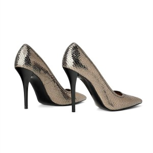 Champagne Python Stiletto Heels Pumps