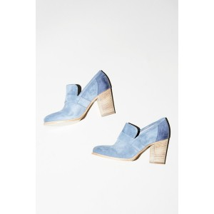 Light Blue Chunky Heels Round Toe Vintage Heels Suede Shoes