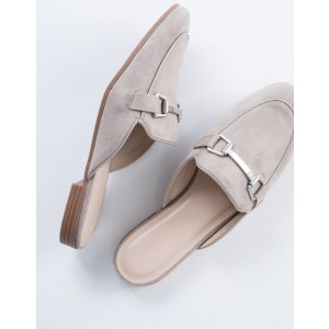 Grey Suede Loafer Mules Comfy Round Toe Flat Loafers for Women