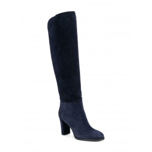 Suede Navy Blue Boots Round Toe Chunky Heels Knee High Long Boots