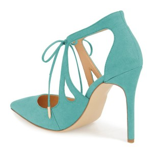 Turquoise Heels Suede Pointy Toe Cut out Lace up Stiletto Heel Pumps