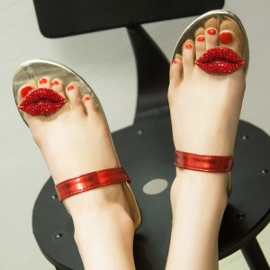 Summer Red Beach Sandals Lips Embroidered Cute Flat Rhinestone Sandals