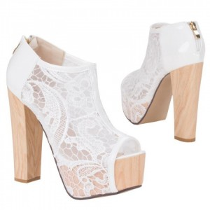 Women's White Lace Chunky Heels Wedding Shoes
