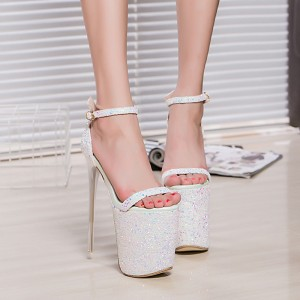Women's Lillian White Glitter Super Stiletto Heel Stripper Heels