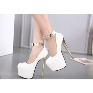 White and Gold Stripper Heels Ankle Strap High Heels Shoes with Platform