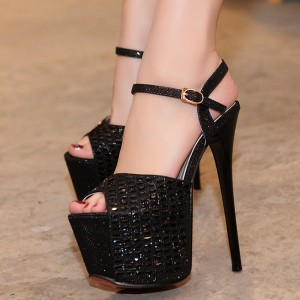 Women's Black Glitter Peep Toe Super Stiletto Heel Stripper Heels